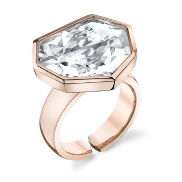 14kt Rose Gold Heptagonal Crystal Quartz Ring