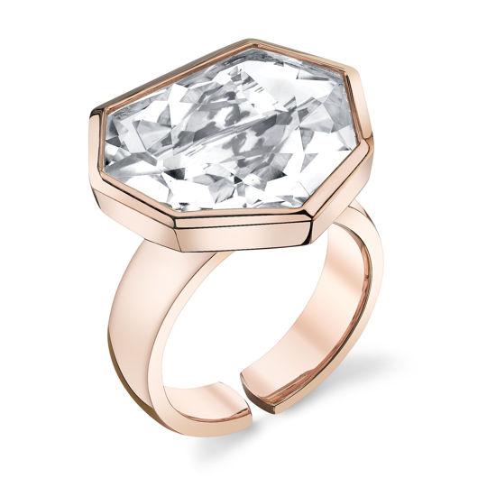 14kt Rose Gold Heptagonal Crystal Quartz Ring