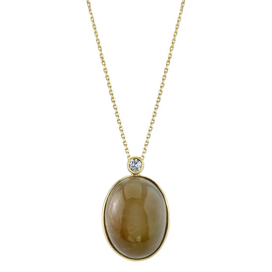 14kt Yellow Gold Moonstone and Diamond Pendant