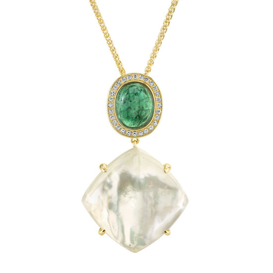 14kt Yellow Gold Assembled Crystal, Mother of Pearl, Tourmaline and Diamond Pendant