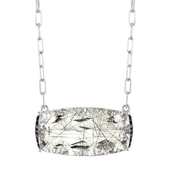 14kt White Gold Rutilated Quartz and Black Diamond Accent Necklace