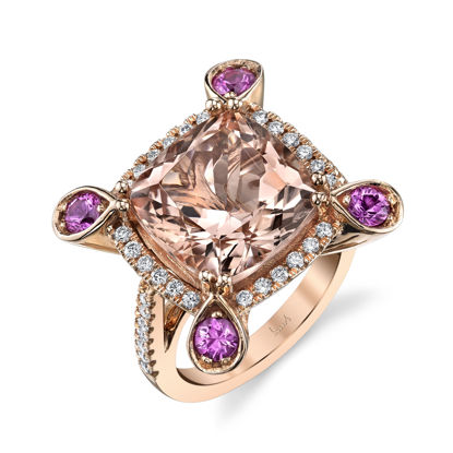 14kt Rose Gold Morganite, Pink Sapphire, and Diamond Ring