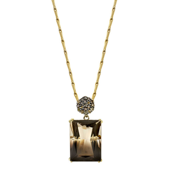 14kt Yellow Gold Bi-Colored Quartz and Champagne Diamond Pendant