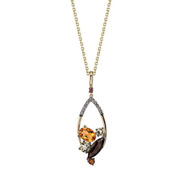 14kt Yellow Gold Smokey and Lemon Quartz, Sapphire, Citrine and Champagne Diamond Pendant