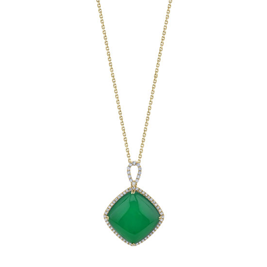 14kt Yellow Gold Green Onyx and Diamond Halo Pendant