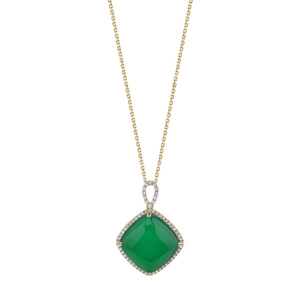 14kt Yellow Gold Green Onyx and Diamond Halo Pendant