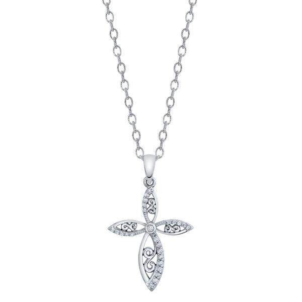 14kt White Gold Twisting Infinity Diamond Cross Pendant
