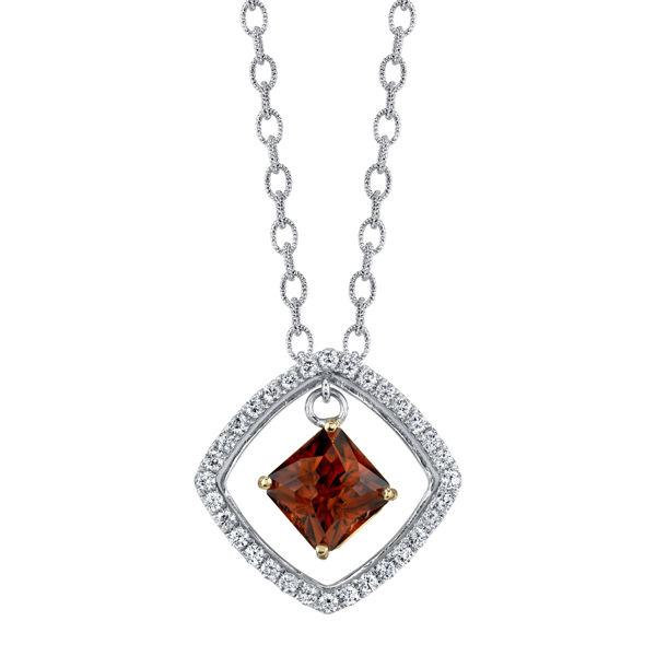 14kt White Gold Cognac Zircon and Diamond Pendant