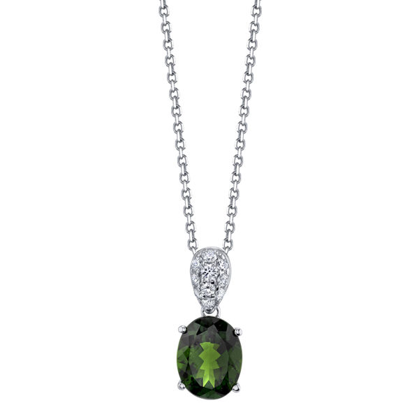 14kt White Gold Chrome Diopside and Diamond Pendant