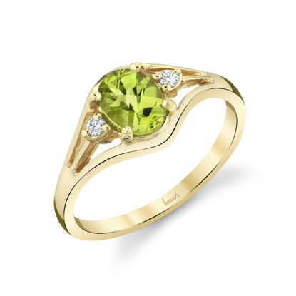 14kt Yellow Gold Oval Peridot and Diamond Ring