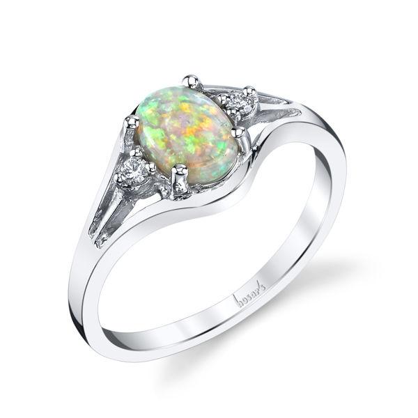 14kt White Gold Australian Opal and Diamond Ring