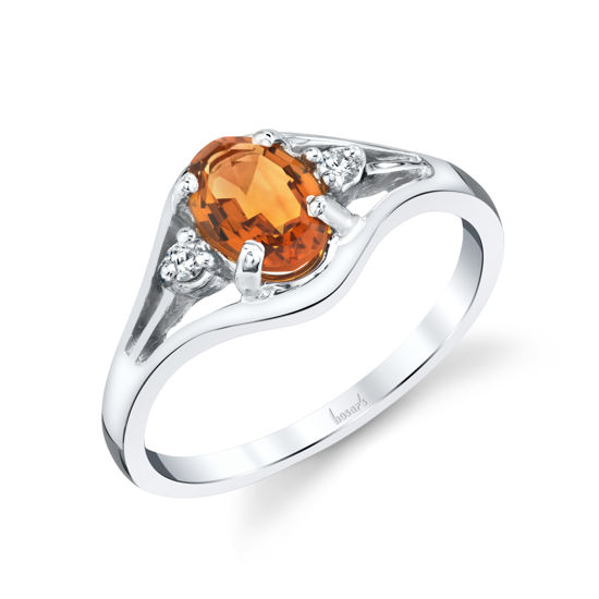14kt White Gold Oval Citrine and Diamond Ring
