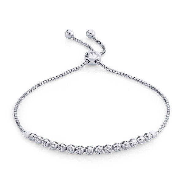 14kt White Gold Bezel Set Diamond Bolo Bracelet