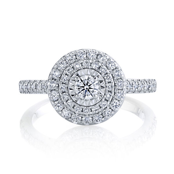 14kt White Gold Double Halo Illusion Diamond Ring