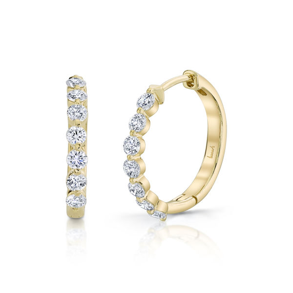 14kt Yellow Gold Shared Prong Diamond Hinged Hoops
