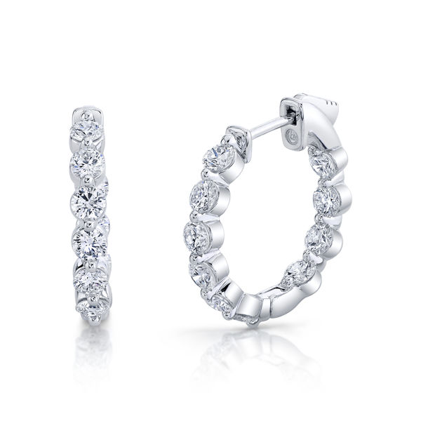 14kt White Gold Innovative Inside Out Diamond Locking Hoops