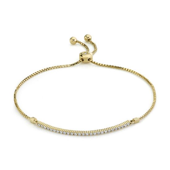 14kt Yellow Gold Shared Prong Diamond Bar Bolo Bracelet