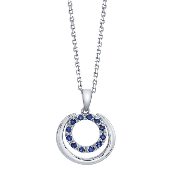 14kt White Gold Natural Sapphire Double Circle Pendant