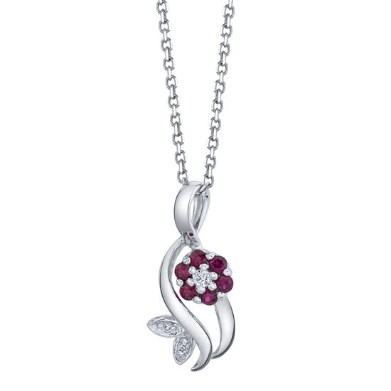 14kt White Gold Natural Ruby and Diamond Flowing Flower Pendant