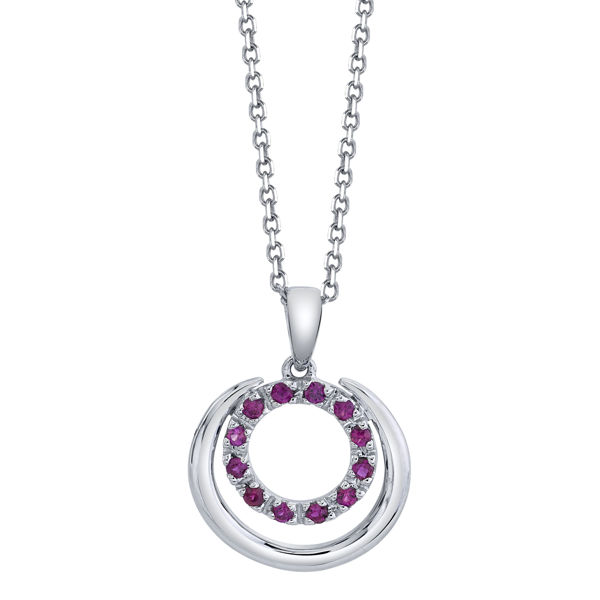 14kt White Gold Double Circle Natural Ruby Pendant