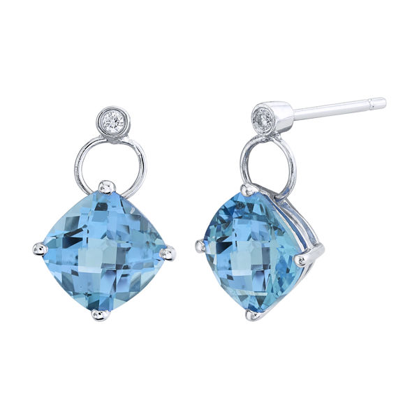 14Kt White Gold Cushion Cut Blue Topaz and Diamond Dangle Earrings