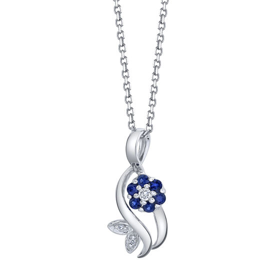 14kt White Gold Natural Sapphire and Diamond Flowing Flower Pendant