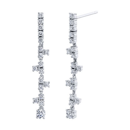 14kt White Gold Stairway to Stars Diamond Drop Earrings