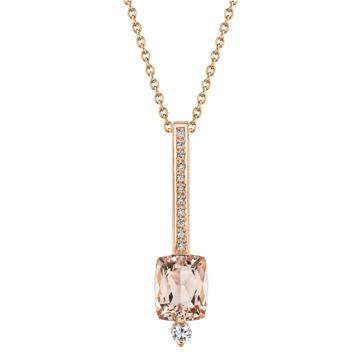 14kt Rose Gold Morganite and Diamond Blushing Bar Pendant
