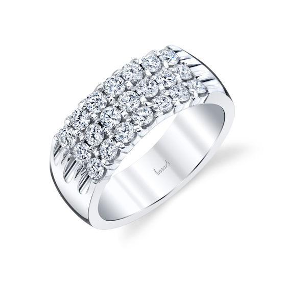14kt White Gold Three Row Shared Prong Diamond Band