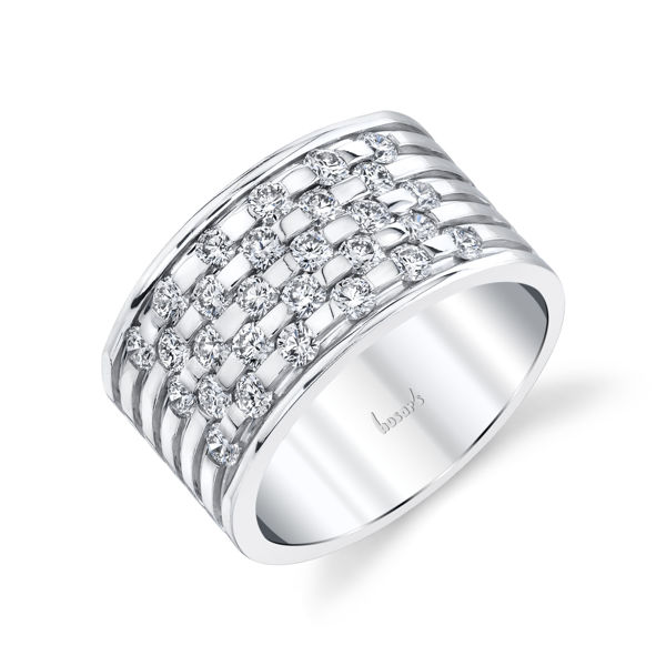 14kt White Gold Wide Woven Diamond Band