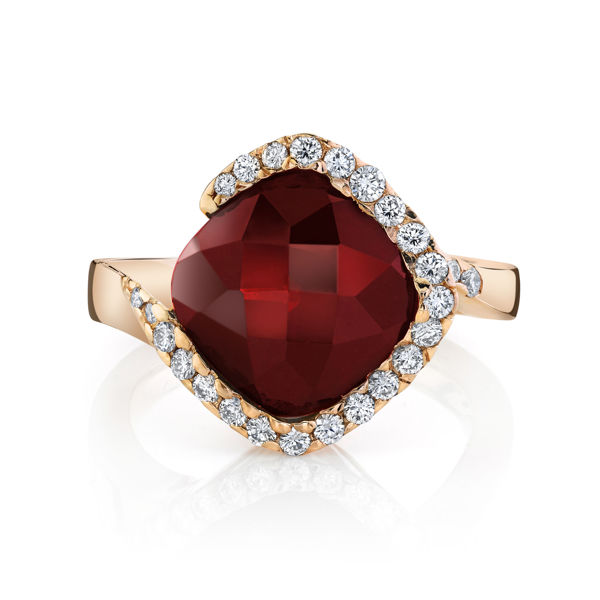 14kt Rose Gold Stylized Garnet and Diamond Halo Ring