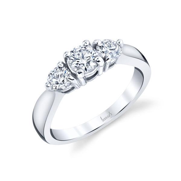 14kt White Gold Tapered Three Diamond Engagement Ring